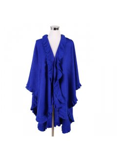 P119A BLUE SHAWL WITH FRINGE TRIM Please Click the image for more information.