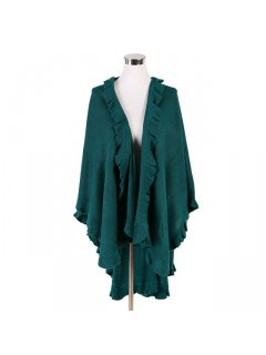 P119C JADE GREEN SHAWL WITH FRINGE TRIM Please Click the image for more information.