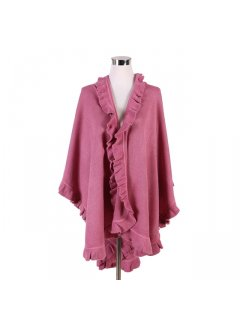 P119E PINK SHAWL WITH FRINGE TRIM Please Click the image for more information.