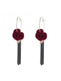 E0670 BLACK FLOWER WITH CHAIN DROP EARRINGS Please Click the image for more information.