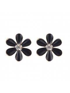 E0672C BLACK FLOWER CLIP ON EARRINGS Please Click the image for more information.