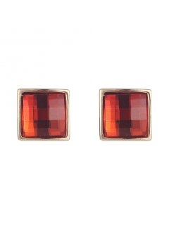 E0673B RED MIRRORED CLIP ON EARRINGS Please Click the image for more information.