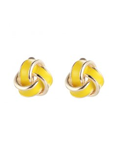 E0674B YELLOW KNOT CLIP ON EARRINGS Please Click the image for more information.