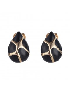 E0676 BLACK  GOLD CLIP ON EARRINGS Please Click the image for more information.