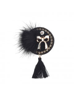 BR0139A BLACK DISCTASSLE TRIM BROOCH Please Click the image for more information.