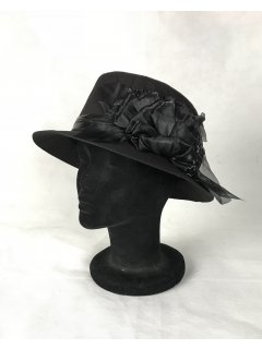 HA0282A THIS IS A BEAUTIFUL CANVAS NARROW BRIMMED HAT WITH AN ORGANZA FLOWER FEATURE THIS STYLE IS AVAILABLE IN 3 COLOURS COFFEE BLACK RED. Please Click the image for more information.
