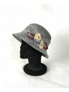 HA0278B THIS IS A BEAUTIFUL SINNAMAY NARROW BRIMMED HAT WITH A SINNAMAY FLOWER FEATURE THIS STYLE IS AVAILABLE IN 5 COLOURS ORANGE BLUE GREY BEIGE AND RED. Please Click the image for more information.