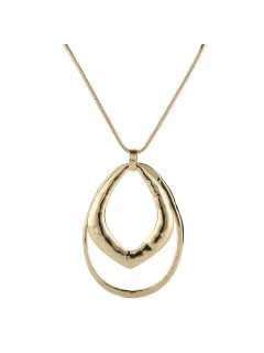 10860 GOLD NECKLACE WITH DOUBLE RING DROP Please Click the image for more information.