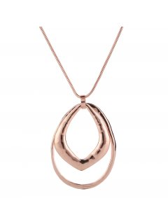 10860B ROSE GOLD NECKLACE WITH DOUBLE RING DROP Please Click the image for more information.