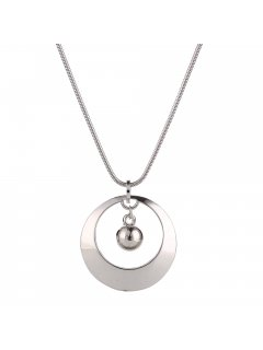 10865A SILVER NECKLACE WITH ROUND DISC  BALL DROP Please Click the image for more information.