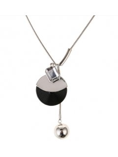 10857A SILVER NECKLACE WITH BLACK  SILVER DISC  BALL DROP Please Click the image for more information.