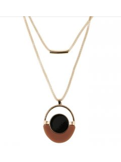 10858 GOLD NECKLACE WITH BROWN  BLACK DROP Please Click the image for more information.