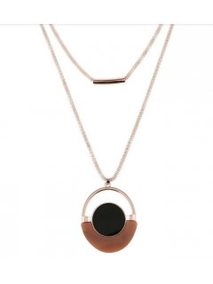 10858B ROSE GOLD NECKLACE WITH BROWN  BLACK DISC Please Click the image for more information.