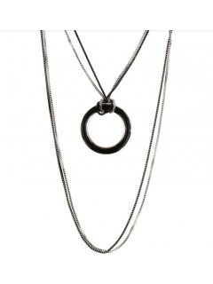 10859A SILVER DOUBLE CHAIN  BLACK RING Please Click the image for more information.
