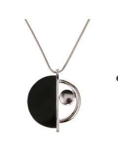 10855A SILVER NECKLACE  SILVER  BLACK DISC Please Click the image for more information.