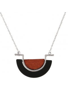 10853A SILVER NECKLACE  WITH BROWN  BLACK HALF CIRCLE DROP Please Click the image for more information.
