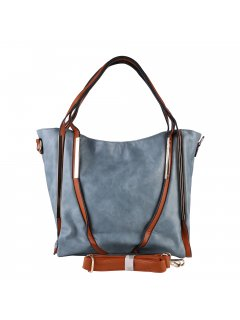 H0890C LADIES LIGHT GREY HANDBAG WITH BROWN TRIMINC BOTH LONG AND SHORT STRAP Please Click the image for more information.