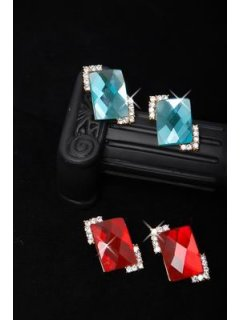 E0146 Earrings  Red Glass Diamonte                Blue Glass Diamonte Please Click the image for more information.