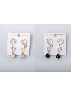 E0153 Earrings  GoldCream Pearl Chanel Set                 SilverBlack Pearl Chanel Set Please Click the image for more information.