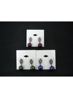 E0294 These earrings match necklace style no 10231They are available in Green Purple or Blue Satin Pearl Please Click the image for more information.