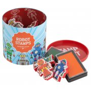 Robot Stamps 10 stamps and 2 ink pads in a great container  never lose your stamps this way Please Click the image for more information.