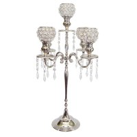 Candelabra with crystal votive holders Candelabra with 5 small round crystal votive holders  The stand is made from brass nickle plated and looks very elegant  . Please Click the image for more information.