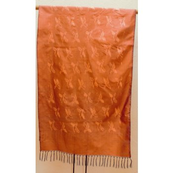 Silk Ikat shawl with bird design in copper Shimmering shot silk  ikat shawl with design of birds  Soft copper  colours with a hand knotted fringe . Please Click the image for more information.