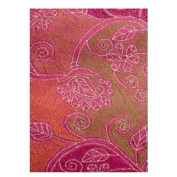SOLD Kantha handmade embroidered shawl This fabric  is exquistely hand stitched in cotton thread on a pink silk ground fabric    The panel could be worn as a shawl used as a wall hanging or as a throw on the end of a bed T. Please Click the image for more information.