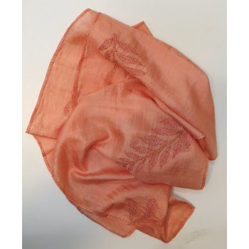Russet silk hand embroidered scarf This lustrous silk shawl has been hand embroidered in shades of autumn in a leaf  design Light weight silkH. Please Click the image for more information.