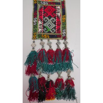 Uzbek beaded and embroidered tassle Stunning tasselled hanging incorporating hand stitched silk embroidery  cotton tassels with beaded ends and silver embellishment . Please Click the image for more information.