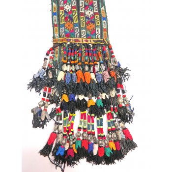 Antique Uzbek beaded and embroidered tassle Stunning tasselled hanging from Uzbekistan incorporating hand stitched silk embroidery silk tassels with beaded and silver embellishment . Please Click the image for more information.