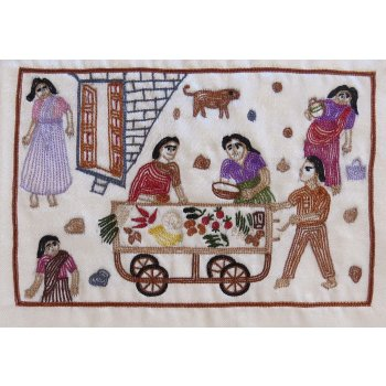 Vegetable seller Hand stitched Ari embroider Handmade Ari embroidered panel  depicting Indian Village life  on mashru fabric embroidered by Adam Sangar in Kutch India . Please Click the image for more information.