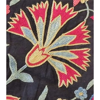 Suzani fragment Carnation design Suzani fragment hand embroidered in silk thread on a black cotton ground fabric  Natural dyes add rich variations in shading to the colours especially the indigo blueT. Please Click the image for more information.