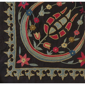 Suzani fragment with tulip design Tulip design Suzani fragment hand embroidered in silk thread on a black cotton ground fabric  Natural dyes add rich variations in shading to the colours especially the indigo blueT. Please Click the image for more information.