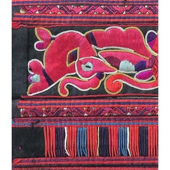Miao embroidered vintage sleeve panel These  exceptionally fine vintage Miao embroideries are worked in a single strand of silk   The matching panels depict the creation stories of the Miao people of China  . Please Click the image for more information.