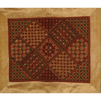 Embroidered Kutch panel This panel  was hand embroidered in silk thread using traditional Rabari embroidery stitches  These panels are made for sale by village women to raise money for the education of their children . Please Click the image for more information.