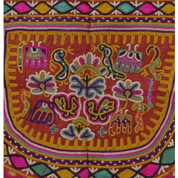 Indian Ceremonial Embroidery from Fan Embroidered Indian ceremonial textile depicting elephants peacocks the green parrot of Gujarat and other symbols of good fortune in bright vibrant designsHa. Please Click the image for more information.
