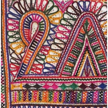 Rabari Hand Embroidered Shawl Border Pair These two  embroidered shawl borders were stitched by Rabari  women in Kutch India The colours are very bright and rich . Please Click the image for more information.