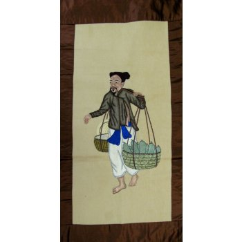 The Vegetable Grower - Silk embroidery early 1900's This extremely fine embroidery of a Vegetable grower is worked in silk on a cotton ground fabric The embroidery has three dimensional elements in the stitching . Please Click the image for more information.