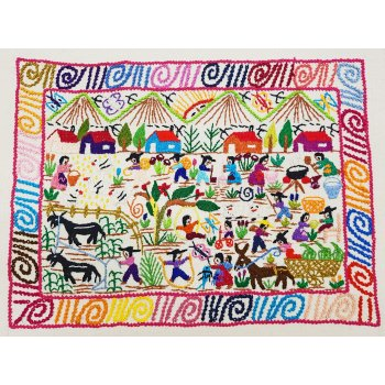 Mexican village Village life is shown in this vibrant and cheerful hand embroidery worked on manta a traditional handwoven cotton fabricThe u. Please Click the image for more information.