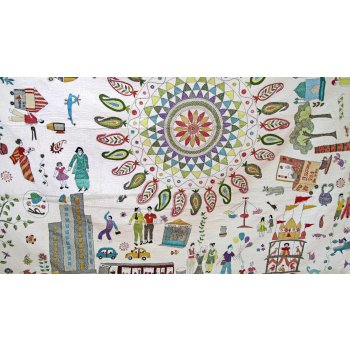 Calcutta Kantha Quilt This quilt is finely stitched in a variety of stitches in the kantha style with many motifs telling the story of life in Calcutta. Please Click the image for more information.