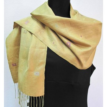 Golden silk shawl with subtle lozenge motifs Hand loomed gold silk shawl with subtle lozenge motifs  This shawl is an example of the finely crafted Laos silk weaving from the weaving stduio of Phaeng MaiC. Please Click the image for more information.
