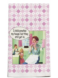 I CHILD PROOF THE HOUSE BUT THEY KEEP GETTING IN PINK RETRO TEATOWEL  I CHILD PROOFED  THE HOUSE BUT THEY KEEP GETTING IN Please Click the image for more information.