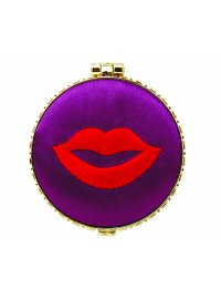 PURPLE WITH LIPS MIRROR COMPACT PURPLE SATIN MIRROR COMPACT WITH RED LIPS Please Click the image for more information.