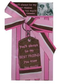 KEYRING BEST FRIEND BROWN AND PINK EMBROIDERED KEYRING ON DISPLAY CARDYOULL ALWAYS BE MY BEST FRIEND YOU KNOW TOO MUCH Please Click the image for more information.