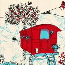 Kristen Doran Gypsy Caravan Red Blue Gypsy Caravan is a gorgeous hand screen printed design by Australian textile designer Kristen Doran Printed on a lovely and soft medium weight hemp  organic cotton this fabric panel is perfect for cushions wall art and bagsIdea. Please Click the image for more information.