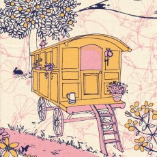 Kristen Doran Gypsy Caravan Pink & Orange Gypsy Caravan is a gorgeous hand screen printed design by Australian textile designer Kristen Doran Printed on a lovely and soft medium weight hemp  organic cotton this fabric panel is perfect for cushions wall art and bagsIdea. Please Click the image for more information.