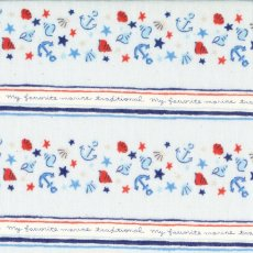 Le Nautisme Marine Stripe Blue Double Gauze Come sailing with me with this very sweet boys fabric featuring shells and anchor stripes with cursive writing in between. Please Click the image for more information.