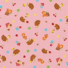 Small Paradise Hedgehogs Pink Remnant Adorable japanese fabric  with sweet illustration of hedgehogs squirrels toadstools and cherries Please Click the image for more information.