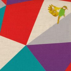 Echino Mosaic Teal, Red & Purple Designed by Japanese textile designer Etsuko Furuya Echino Mosaic  is a stunning design of birds with geometric triangles T. Please Click the image for more information.